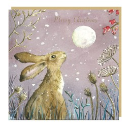 Christmas Hare Tracks Love Country Christmas Art Cards That Tells A Story - Pack of 5 Xmas Cards