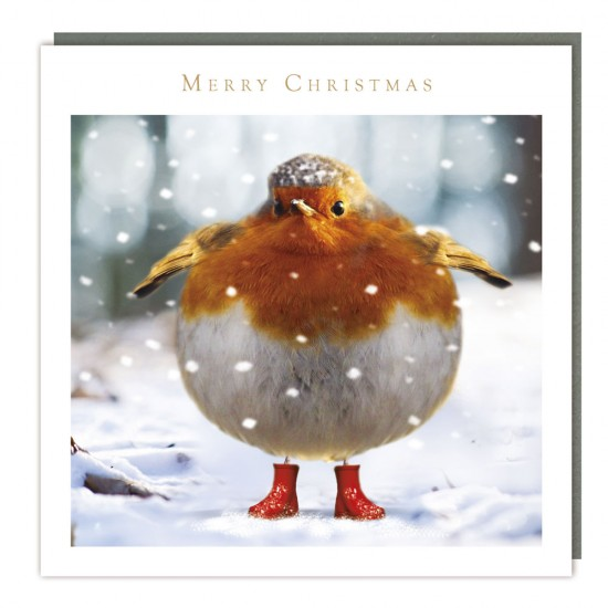 Big Robin Tracks Traditional Charity Christmas Sparkle Cards - Pack of 5 Xmas Cards