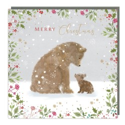 Christmas Bears Tracks Traditional Charity Christmas Sparkle Cards - Pack of 5 Xmas Cards