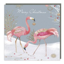 Flamingos with Xmas Decoration Tracks Traditional Charity Christmas Sparkle Cards - Pack of 5 Xmas Cards