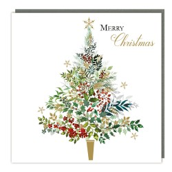 Xmas Tree Sparkle Tracks Traditional Charity Christmas Sparkle Cards - Pack of 5 Xmas Cards