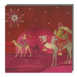 Three Wise Men Tracks Traditional Charity Christmas Sparkle Cards - Pack of 5 Xmas Cards