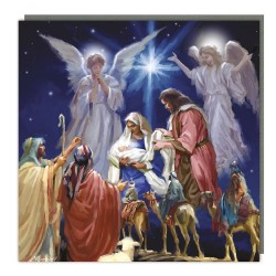 Festive Nativity Charity Christmas Traditional Tracks Cards - Pack of 5 Xmas Cards