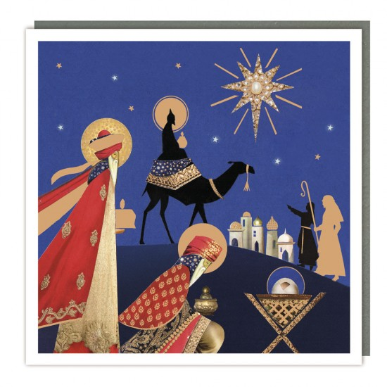 Birth of Christ Tracks Traditional Charity Christmas Sparkle Cards - Pack of 5 Xmas Cards