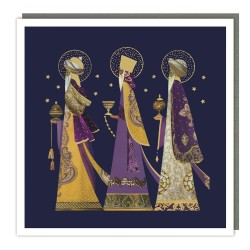 Three Kings Tracks Traditional Charity Christmas Sparkle Cards - Pack of 5 Xmas Cards