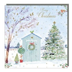 Festive Garden Tracks Traditional Charity Christmas Sparkle Cards - Pack of 5 Xmas Cards