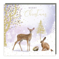 Woodland Animals Tracks Traditional Charity Christmas Sparkle Cards - Pack of 5 Xmas Cards