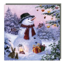 Festive Snowman Traditional Charity Christmas Sparkle Cards - Pack of 5 Xmas Cards