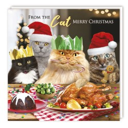 Festive From The Cat -  Xmas Turkey Dinner Party Single Christmas Greeting Card