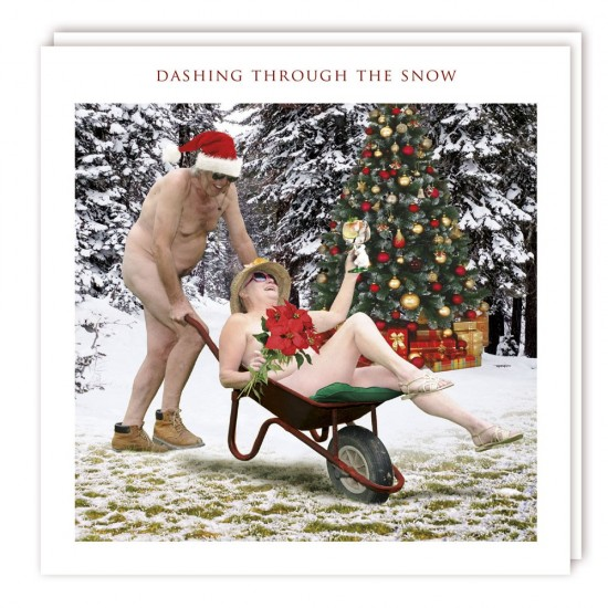 Dashing Through The Snow Nudist Photo Finish Christmas And New Year Greeting Card - XS548