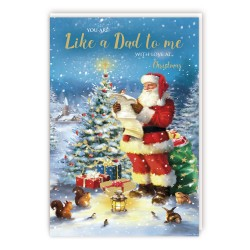 You Are Like a Dad to Me With Love at Christmas Tracks Traditional Sparkle Christmas Card