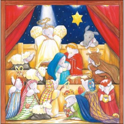 Around The Manger Humphrey's Corner Art by Sally Hunter Pack of 5 Charity Christmas Greeting Cards of 1 Design