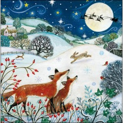 Christmas Eve Countryside Foxes Hare Deer Santa Sleigh Animal Friends Art Pack of 5 Charity Christmas and New Year Greeting Cards of 1 Design