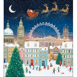 Christmas Eve Over London Gold Ink Art Pack of 5 Charity Xmas and New Year Greeting Cards of 1 Design