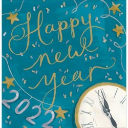 2022 Happy New Year - Tik Tok Illustrated Card with a Gold Foil Finish by Woodmansterne