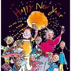 2022 Happy New Year Greeting Card Quentin Blake Celebration by Woodmansterne