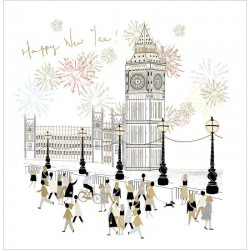 2022 Happy New Year Greeting Card Big Ben Celebration - Gold foil finished by Woodmansterne