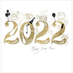 2022 Celebrations Happy New Year - Illustrated Card with a Glitter Varnish Finish by Woodmansterne