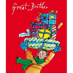 Great Brother with Gifts Christmas Greeting Card by Quentin Blake
