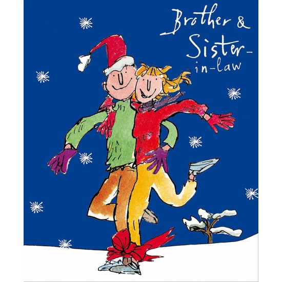 Brother and Sister-in-Law Couple Team Christmas Greeting Card by Quentin Blake