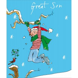 Great Son Snow much Fun Christmas Greeting Card by Quentin Blake