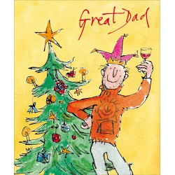 Great Dad with Wine Tree Reward Christmas Greeting Card by Quentin Blake