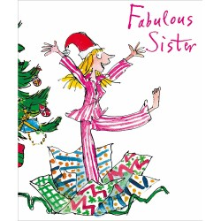 Fabulous Sister Opening Gifts in Pyjamas Christmas Greeting Card by Quentin Blake