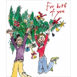 For Both of You Couple with Tree Christmas Greeting Card by Quentin Blake