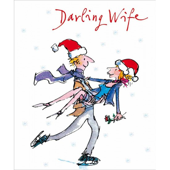 Darling Wife Romantic Iceskating Christmas Greeting Card by Quentin Blake