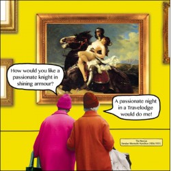 Night In Travelodge, The Rescue by Hamilton Funny Blank Greeting Card - Irene & Gladys