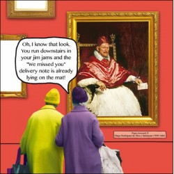 Missed Delivery Note, Pope Innocent X by Velázquez Funny Blank Greeting Card - Irene & Gladys
