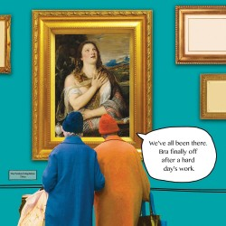 Bra Off - The Penitent Magdalene - Funny Blank Greeting Card - Irene & Gladys 077356