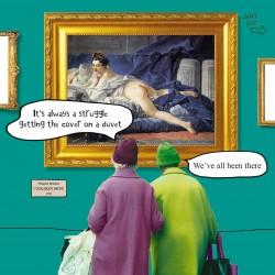 Duvet - The Brunette Odalisque Boucher - Funny Blank Greeting Card - Irene & Gladys 057747