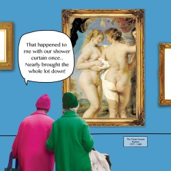 Shower Curtain - The Three Graces Rubens - Funny Blank Greeting Card - Irene & Gladys 083869