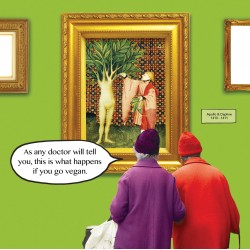 Vegan - Apollo and Daphne LEpistre dOrthea - Funny Blank Greeting Card - Irene & Gladys 081506