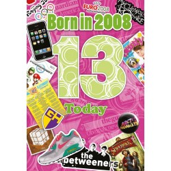 Girl's 13th Birthday Greeting Card - Born in 2008 - Milestone Age 13 - Interesting Facts Inside from 2008 - Attractive Foil Finish (YA234)
