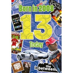 Boy's 13th Birthday Greeting Card - Born in 2008 - Milestone Age 13 - Interesting Facts Inside from 2008 - Attractive Foil Finish (YA235)