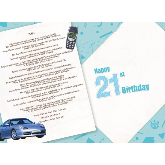 Male 21st Birthday Greeting Card - Born in 2000 - Milestone Age 21 - Interesting Facts Inside from Year 2000 for him- Attractive Foil Finish (YA241)