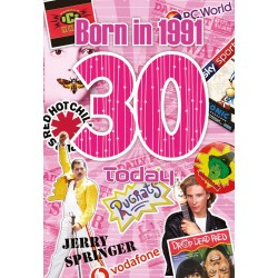 Female 30th Birthday Greeting Card - Born in 1991 - Milestone Age 30 - Interesting Facts Inside from 1991 - Attractive Foil Finish (YA242)