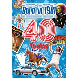 Male 40th Birthday Greeting Card - Born in 1981 - Milestone Age 40 - Interesting Facts Inside from 1981 - Attractive Foil Finish (YA245)