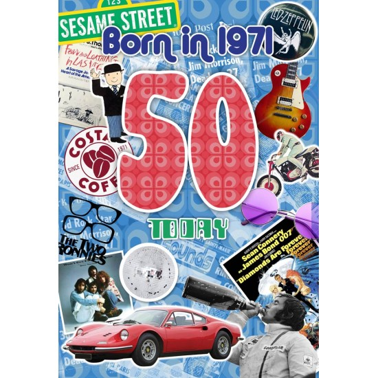 Male 50th Birthday Greeting Card - Born in 1971 - Milestone Age 50 - Interesting Facts Inside from 1971 - Attractive Foil Finish (YA247)