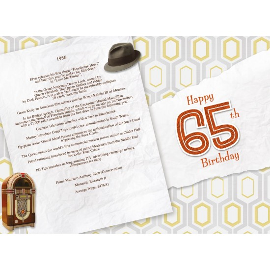 Male 65th Birthday Greeting Card - Born in 1956 - Milestone Age 65 - Interesting Facts inside from 1956 - Attractive Foil Finish (YA251)