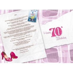 Female 70th Birthday Greeting Card - Born in 1951 - Milestone Age 70 - Interesting Facts Inside from 1951 - Attractive Foil Finish (YA252)