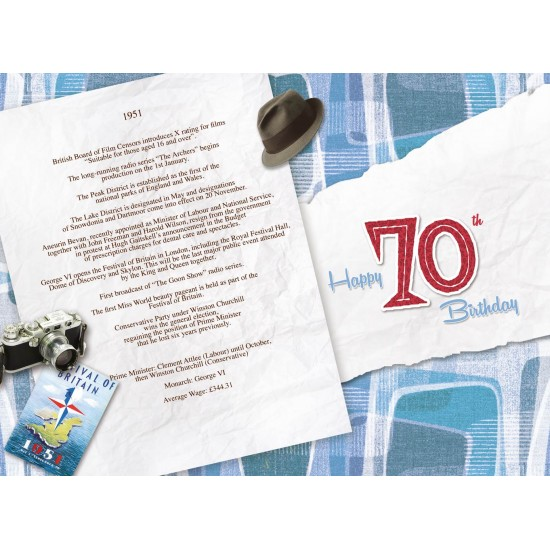 Male 70th Birthday Greeting Card - Born in 1951 - Milestone Age 70 - Interesting Facts Inside from 1951 - Attractive Foil Finish (YA253)