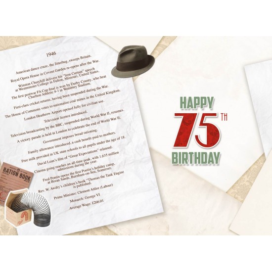Male 75th Birthday Greeting Card - Born in 1946 - Milestone Age 75 - Interesting Facts Inside from 1946 - Attractive Foil Finish (YA255)