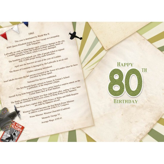 Male 80th Birthday Greeting Card - Born in 1941 - Milestone Age 80 - Interesting Facts Inside from 1941 - Attractive Foil Finish (YA257)