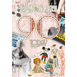 Female 90th Birthday Greeting Card - Born in 1931 - Milestone Age 90 - Interesting Facts Inside from 1931 - Attractive Foil Finish (YA258)