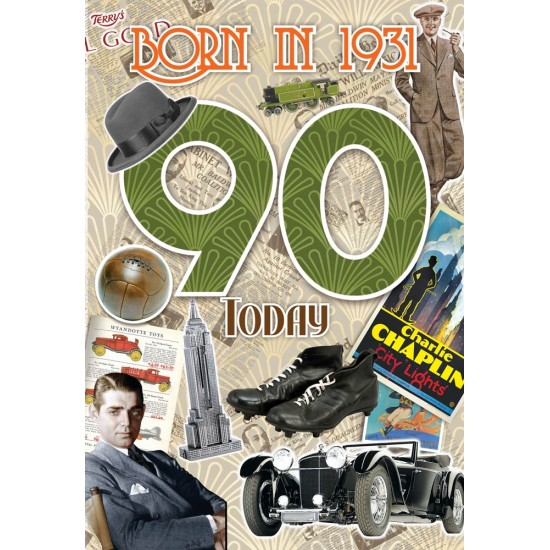 Male 90th Birthday Greeting Card - Born in 1931 - Milestone Age 90 - Interesting Facts Inside from 1931 - Attractive Foil Finish (YA259)