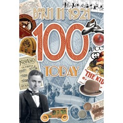 Male 100th Birthday Greeting Card - Born in 1921 - Milestone Age 100 - Interesting Facts Inside from 1921 - Attractive Foil Finish (YA261)