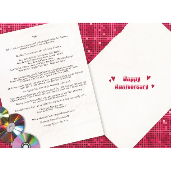 Silver Wedding Anniversary Card - Married in 1996 - 25th Wedding Anniversary Card - Attractive Foil Finish - from The Down Memory Lane Range with Facts Inside - Attractive Foil Finish